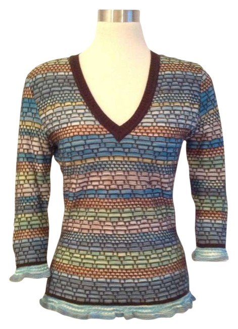 Preload https://item2.tradesy.com/images/missoni-various-with-brown-v-neck-and-blue-trim-cable-knit-34-sleeve-wool-sweaterpullover-size-8-m-198321-0-0.jpg?width=400&height=650