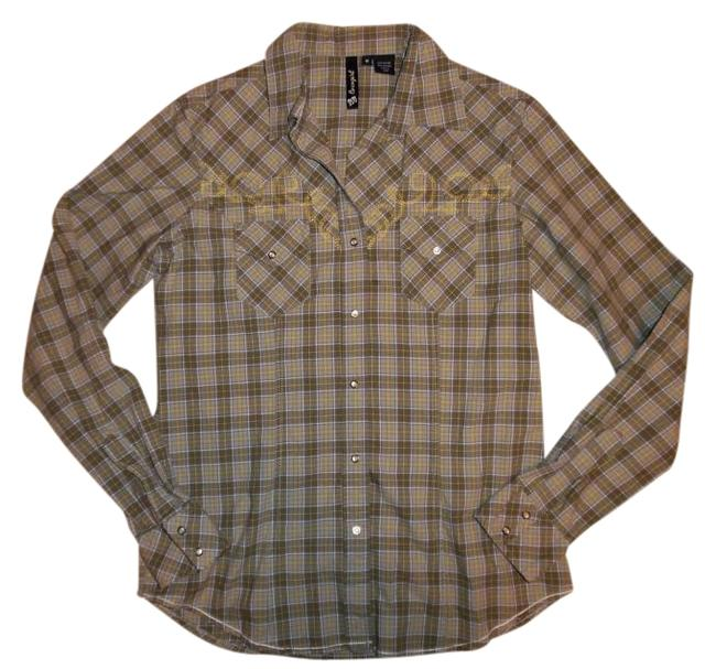 Preload https://img-static.tradesy.com/item/19832114/olive-green-yellow-white-plaid-embroidered-snap-up-western-shirt-button-down-top-size-8-m-0-1-650-650.jpg