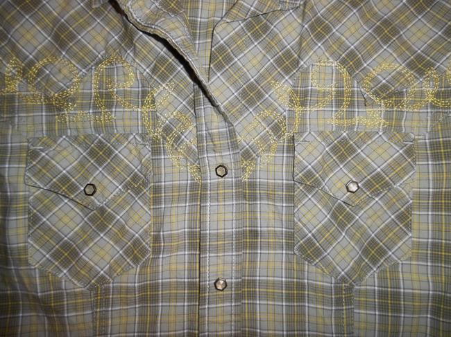 RU Cowgirl Cowboy Western Southwest Button Down Shirt Olive Green, Yellow, White Image 1