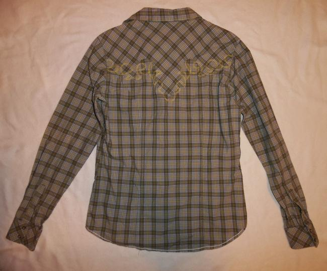RU Cowgirl Cowboy Western Southwest Button Down Shirt Olive Green, Yellow, White Image 3