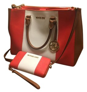 MICHAEL Michael Kors Satchel in Mandarin, white, brown