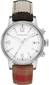 Burberry NWT Burberry Utilitarian Classic Check Leather Strap Watch BU7824