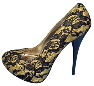 Charlotte Russe Platform Lace Yellow & Black Pumps