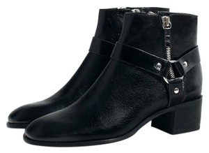 Zara Bootie Boot Leather Ankle Black Boots