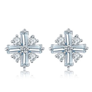 Fine Jewelry Vault Fancy Classic Flower Shaped CZ Stud Earrings White Hue