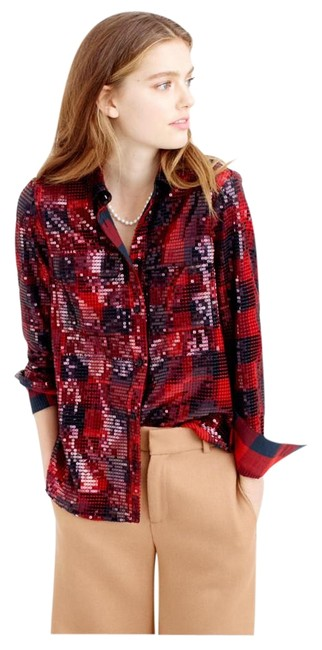 Item - Collection Sequin Buffalo Check Shirt Red and Black Top