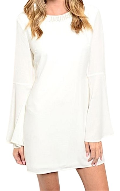 Preload https://img-static.tradesy.com/item/19832645/ivory-bell-sleeve-mini-shift-above-knee-night-out-dress-size-4-s-0-1-650-650.jpg