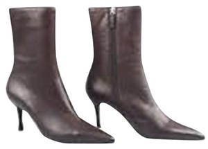 Gucci Leather Pointed Toe Brown Boots