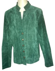 Coldwater Creek Green Leather Jacket