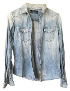 Maison Scotch Fall Jacket Button Down Shirt Denim Light Blue