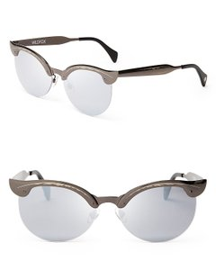 Wildfox Gunmetal Mirrored Etched Cat Eye Sunglasses