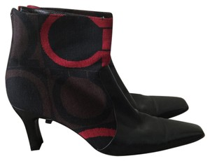 Salvatore Ferragamo Black, Red, and Brown Boots