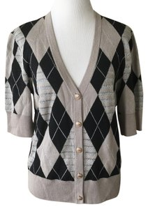 St. John Short Sleeve Argyle Cardigan