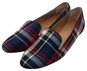 J.Crew Navy plaid Flats