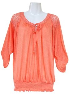 American Rag Lace Keyhole Stretchy Quarter Sleeves Boho Top peach