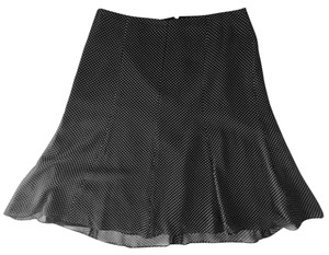 Express Polka Dot Silk Dryclean Only Flowy Skirt Black and White