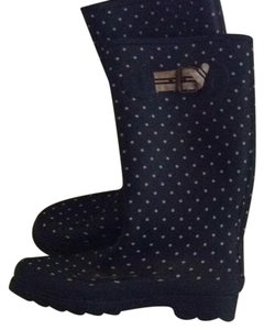 J.Crew Rain Dot Blue with white polka dots Boots