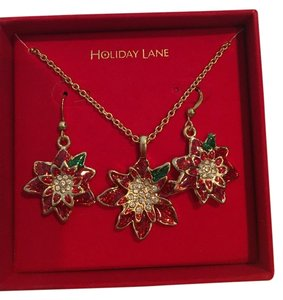 macy's holiday lane christmas necklace and earring set
