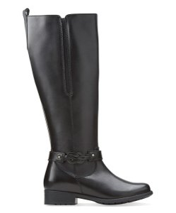 Clarks Riding Tall Boot Leather Black Boots