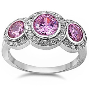 9.2.5 gorgeous 3 stone pink topaz royal cocktail ring size 7