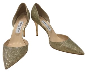 Jimmy Choo D'orsay Glitter Pointy Toe Classic Gold Pumps