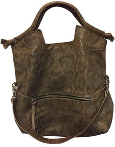 Foley + Corinna New Crossbody Hobo Tote in Brown and Black snakeskin embossed leather