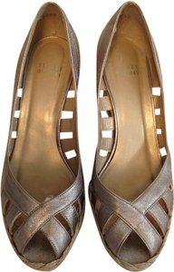 Stuart Weitzman Metallic Leather Metalic Gold Wedges
