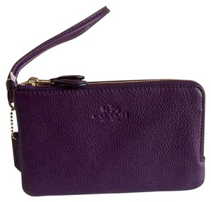 Coach Coach F66505 Double Corner Zip Aubergine ( Purple ) Leather Wristlet