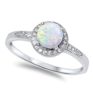 9.2.5 stunning opal and white topaz cocktail ring size 6