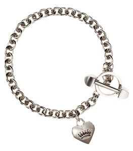 Juicy Couture Juicy Couture Silver B Puffed Medium Heart Bracelet Toggle YJRU6625