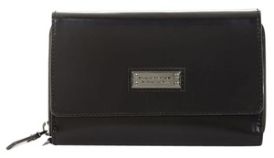 BCBGMAXAZRIA Leather Wallet Zip Wristlet in black