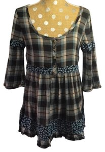 Free People Plaid Floral Tunic