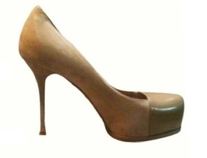Saint Laurent Ysl Tribute Suede Leather Beige Pumps