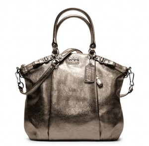 Coach Leather Crossbody Satchel in Metallic Bronze