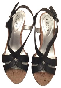 Guess Leather Strappy Summer Fun Black Wedges