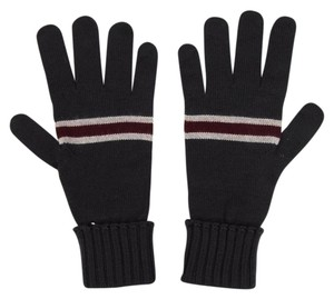 Gucci Unisex Charcoal Wool Gloves w/Burgundy Beige Web sz L 294732 1163