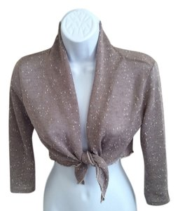 Me' Bolero Tie Waist Over Top Taupe and white