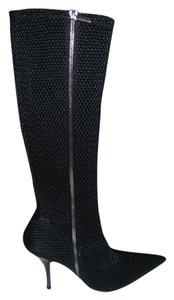 By Angels Textured Sexy Black Boots