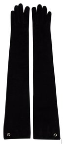 Gucci New Gucci Black Suede Long Gloves w/Interlocking GG Logo 7,323030 1000