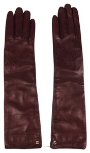 Gucci Burgundy Leather Long Gloves w/Interlocking GG Logo 7.5,331843 6149