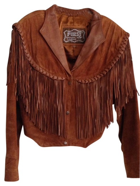 First Leather Fringed Ladies Size L Caramel Brown Jacket Image 0