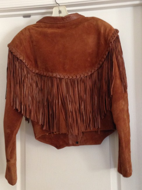 First Leather Fringed Ladies Size L Caramel Brown Jacket Image 1