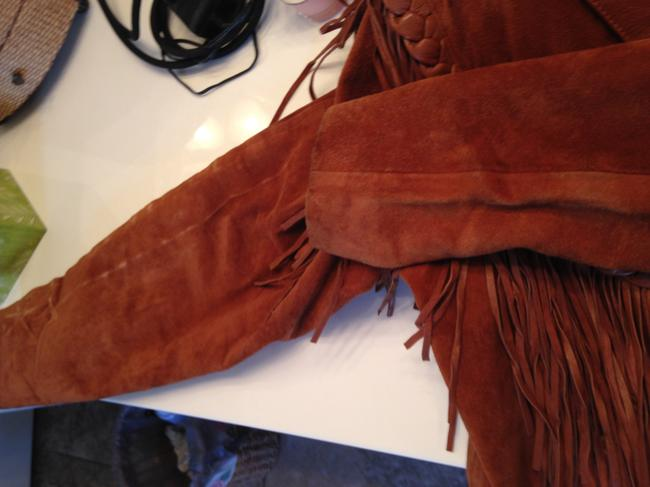 First Leather Fringed Ladies Size L Caramel Brown Jacket Image 3