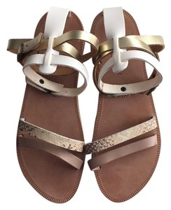 Joie White, Gold, Tan Sandals