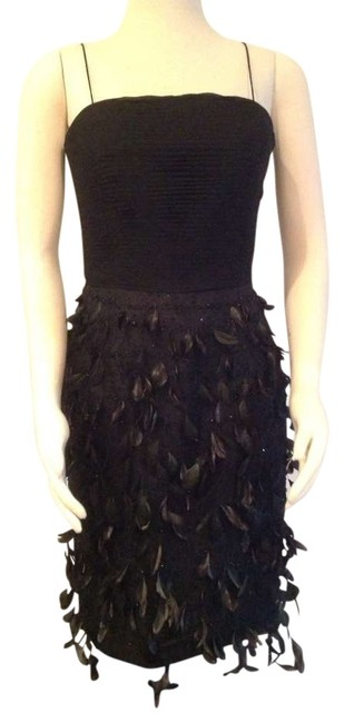 Item - Black Irridescent Feathers Hand-beaded Hot Above Knee Cocktail Dress Size 8 (M)