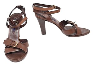 Ralph Lauren Elisa Criss Cross Strap Brown Sandals