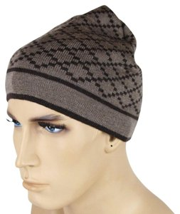 Gucci Brown Unisex Wool Beanie Hat with Diamante Pattern 281600 2864