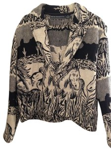 New Identity Vintage Size Med White Black and Cream Horse Tapestry Jacket