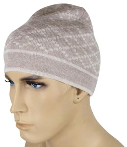 Gucci Gucci Beige Unisex Wool Beanie Hat with Diamante Pattern 281600 9878