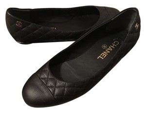 Chanel Quilted Ballerina Classic Bow Black Flats